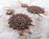 Antiqued copper earrings Bohemian earrings boho dangle earrings 7th wedding anniversary gift Bohemian jewelry