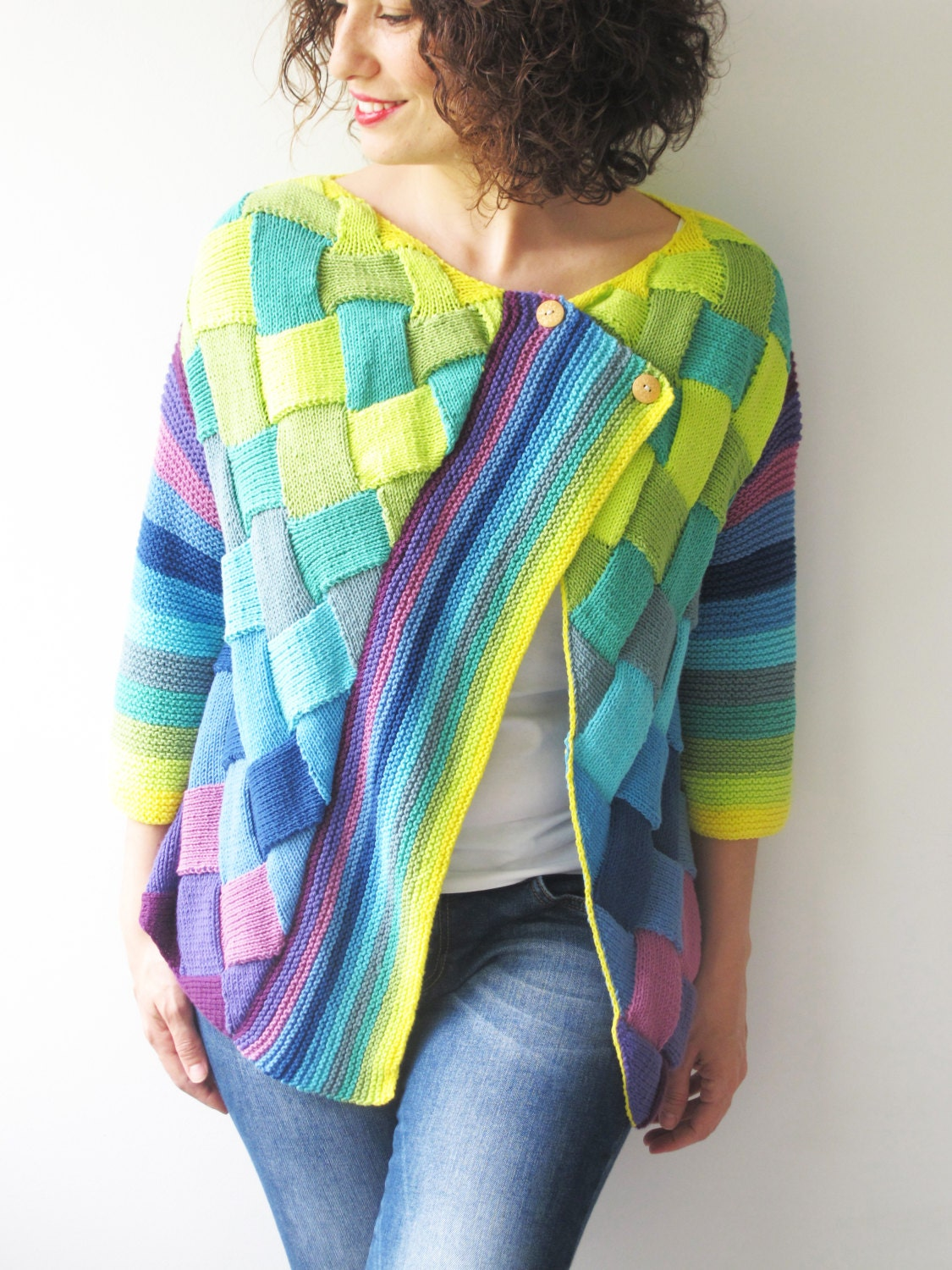 Colorful Cardigan Blue Mint Neon Green Yellow Purple Lilac By