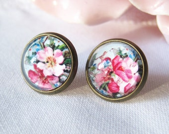 Pink Vintage Flowers Mismatched Antique Brass Post Earrings