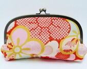 SALE ITEM - Clutch bag, Soft pink and orange blossom kimono fabric clutch bag