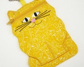 Cat shaped cell phone or camera case Sunny Yellow iphone pouch
