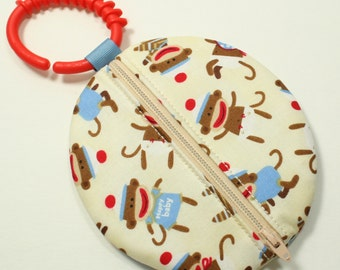 Paci Pod - Boy Pacifier Pouch - Sock Monkey Fabric - boy pacifier case