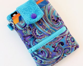 Wallet phone case, iphone 6 iphone 7 wallet case, fabric iphone pouch, Turquoise and Purple Paisley fabric phone case