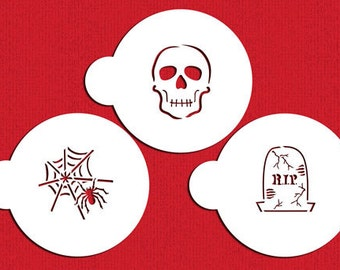 Scary Halloween Cookie Stencil Set for Cookies, Cupcakes & Cakes - Designer Stencils (C457) Skull, Tombstone, Spiderweb, face painting