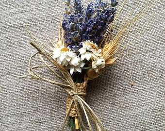 Bridal Wedding Pin on or Wrist Corsage or Boutonniere of Lavender Wheat and Everlasting Daisy Dried Flowers