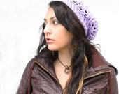 The Gypsy Lace Slouch boho beret vegan Mori Girl Hat pastel lilac