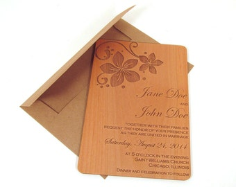 Floral Wooden Wedding Invitation - Fun Flower Wedding Invitation