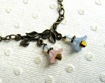 Antiqued Gold Choker Necklace, Vines & Pastel Flowers, Bohemian Jewelry