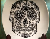 Porcelain Hand Painted sugar skull Plate for Birthday Special Occasion Wedding or Engagement Gift Made to order