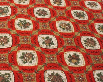 Vintage 1960s Red Gold Green Printed Fabric - 1 1/2 Yards -  Fabric Yardage /Woven Fabric /Cotton Fabric /1960s Fabric /1960s Cotton/60s