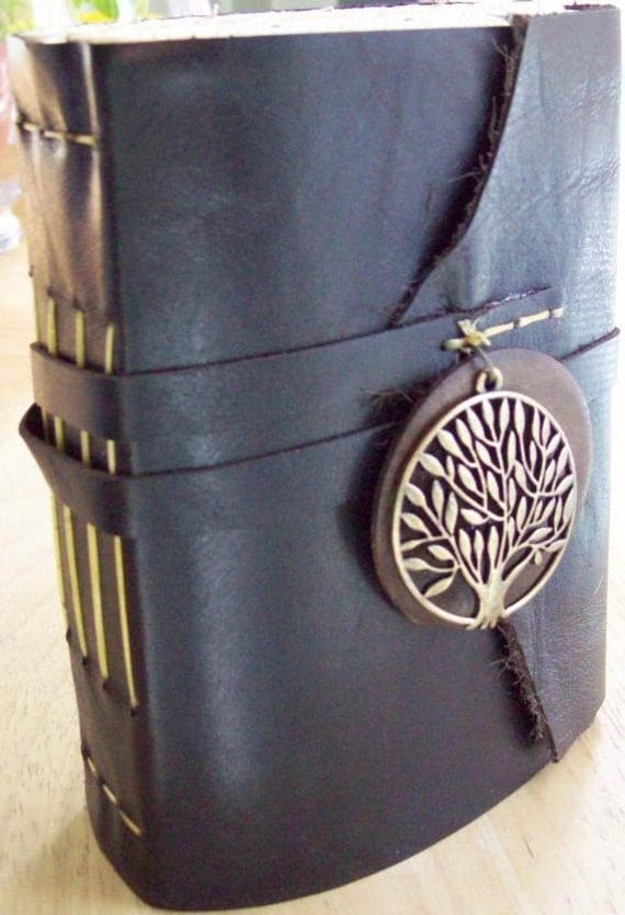 "FREE MONOGRAM! Handmade Tree of Life Leather Journal in Dark Brown - 9""x6"" Large - Free Monogramming"