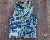 Bleach Tie Dyed Vintage Denim Vest with Eagle Buttons Size M