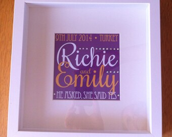 Newly Engaged Personalised Typographic Framed Artwork