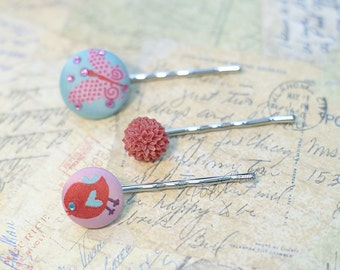 Covered Button Bobby Pin - Set of three - Pink and Red