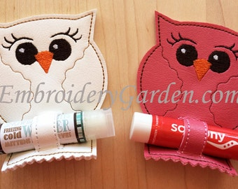 In the Hoop Owl Chapstick Holder Key Ring Machine Embroidery Design File Instant Download