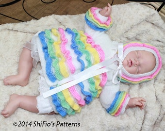 KNITTING PATTERN For Rainbow Baby Matinee Jacket & Bonnet PDF 42