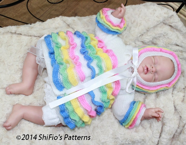 KNITTING PATTERN For Rainbow Baby Matinee Jacket & Bonnet PDF