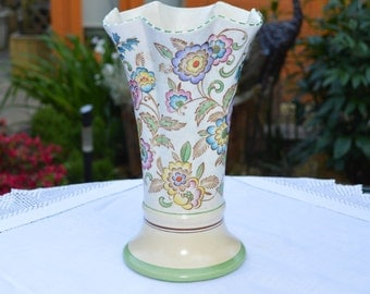 1930s Art Deco English Roskly Pottery Large Vase - Trumpet Shape with fluted Rim - Hand Painted Colourful Floral Pattern