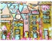 Houses, Whimsical Print mixed media, Embark and Create