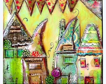 Houses, Whimsical Print mixed media, Free Spirit
