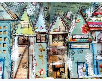 Houses, Whimsical Print mixed media, Happy Times