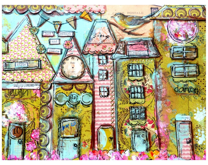 Houses, Whimsical Print mixed media, Embark and Create