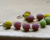 Fluted glass melon beads wire wrapped sterling silver bracelet seven jewelry