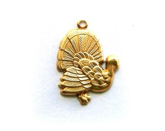 BRASS 10 THANKSGIVING Turkey Brass Charms Stampings and Jewelry Findings (G) #