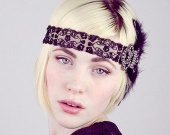 Jet Nouveau Black Feather Flapper Headband Gatsby Fascinator Gunmetal Or Crystal Rhinestone Brooch