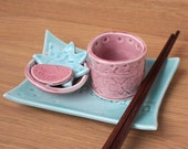 SALE 6 Piece Porcelain Sushi Set, Raw Passion, blue and pink with chopsticks
