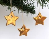Three Little Gold Stars, Porcelain Decorations, Hand Painted Real Gold Lustre Ornaments