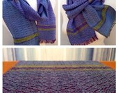 Gallery Green to Purple Handwoven Loom  Installation Scarf  Number 3/4