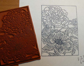 Floral Cling Mounted rubber stamp.