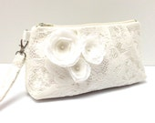 Bridal Clutch, Bridesmaid Gift, Wristlet, Cream Ivory Lace with Flowers LAST ONE