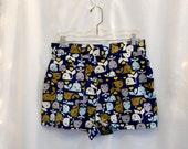 Navy Blue Print Cotton Shorts Whales Print High Waist Shorts High Waisted Shorts Pin Up Shorts Whimsical Shorts Novelty Fabric Shorts Sz S-M