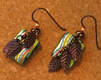 Dichroic Earrings - Fused Glass Earrings - Dichroic Jewelry - Fused Glass Jewelry - Leaf Earrings - Autumn Jewelry