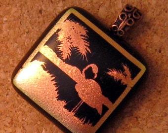 Flamingo Dichroic Pendant - Fused Glass Pendant - Fused Glass Jewelry, Dichroic Jewelry