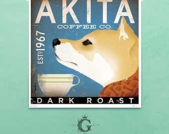 Akita Coffee Company illustration giclee archival signed artist's print by Stephen Fowler