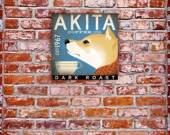 Akita Coffee Company original graphic illustration on gallery wrapped canvas by stephen fowler