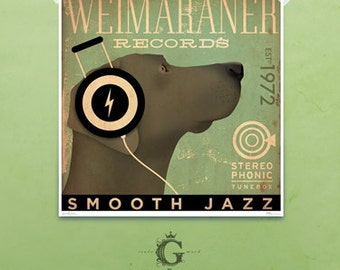 Weimaraner records original graphic art giclee archival print by Stephen Fowler