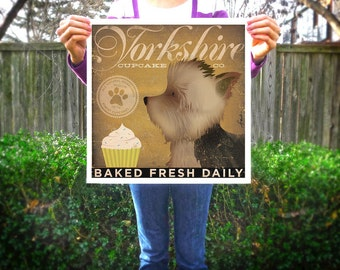 Yorkshire cupcake company yorkie graphic artwork giclee archival print by stephen fowler