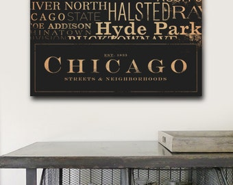 Chicago Streets Typography handmade graphic art on gallery wrapped canvas by Stephen Fowler