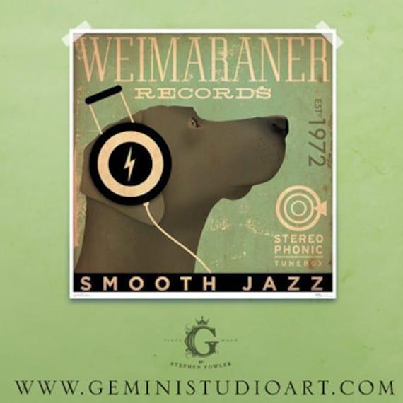 Weimaraner records original graphic art giclee archival print by Stephen Fowler