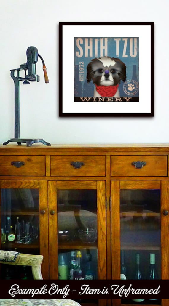 Shih Tzu Wine Company original graphic illustration giclee archival signed artist's print by stephen fowler