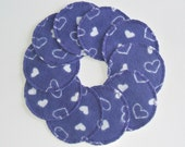 Make-up Remover Pads, 10 piece Purple with White Hearts, Reusable Cotton Rounds, Washable Cosmetic Rounds, Ready to ship