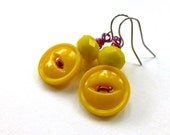 Bright  Yellow Earrings from upcycled Vintage Buttons with Magenta Wire