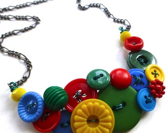 Funky Button Necklace in Primary Red, Yellow, and Blue plus Green