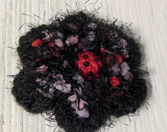 Crochet Flower Brooch - Black, Red, Mauve Crochet Pin