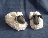 Sheep Slippers Lamb Slippers Animal Slippers Farm Slippers - Children's Knitted Slippers Made to Order