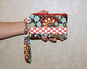 Geisha Fans and Full Moon Polka Dot - Wristlet Purse with Removable Strap and Interior Pocket
